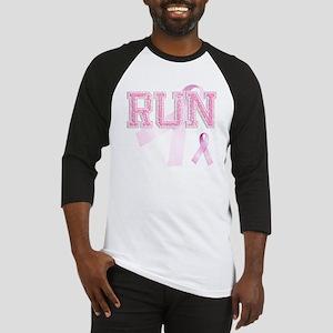 RUN initials, Pink Ribbon, Baseball Jersey