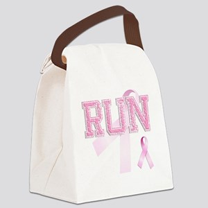 RUN initials, Pink Ribbon, Canvas Lunch Bag