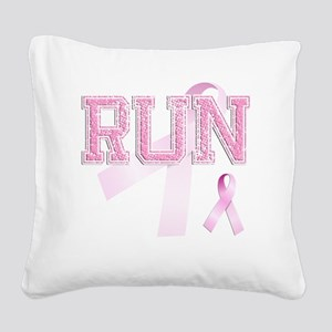RUN initials, Pink Ribbon, Square Canvas Pillow