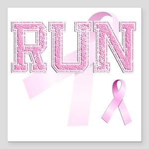 "RUN initials, Pink Ribbo Square Car Magnet 3"" x 3"""