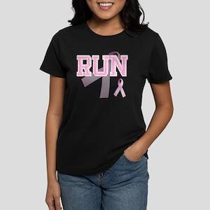RUN initials, Pink Ribbon, Women's Dark T-Shirt