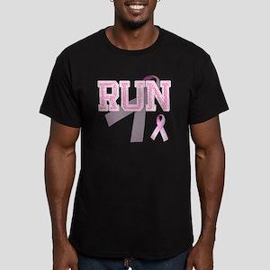 RUN initials, Pink Rib Men's Fitted T-Shirt (dark)