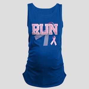 RUN initials, Pink Ribbon, Maternity Tank Top