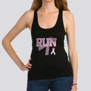 RUN initials, Pink Ribbon, Racerback Tank Top