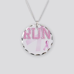 RUN initials, Pink Ribbon, Necklace Circle Charm