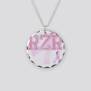 RZR initials, Pink Ribbon, Necklace Circle Charm