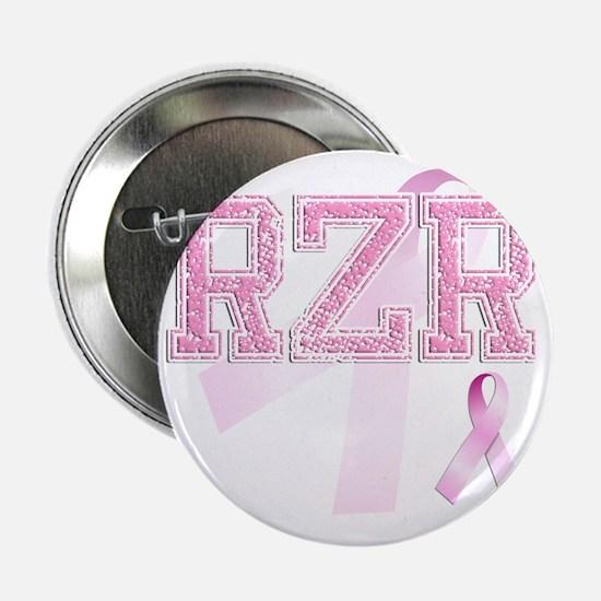 "RZR initials, Pink Ribbon, 2.25"" Button"