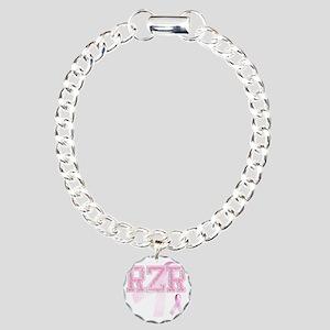 RZR initials, Pink Ribbo Charm Bracelet, One Charm