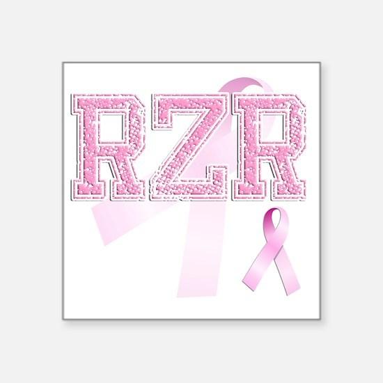 """RZR initials, Pink Ribbon, Square Sticker 3"""" x 3"""""""