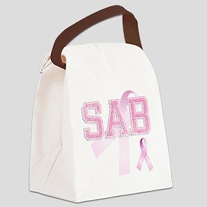 SAB initials, Pink Ribbon, Canvas Lunch Bag