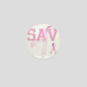SAV initials, Pink Ribbon, Mini Button