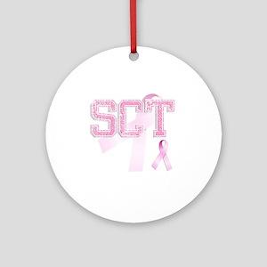 SCT initials, Pink Ribbon, Round Ornament