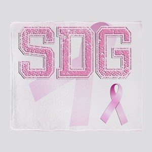 SDG initials, Pink Ribbon, Throw Blanket