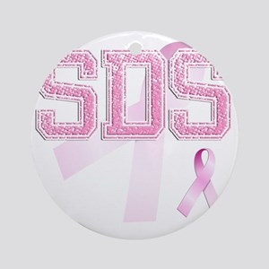 SDS initials, Pink Ribbon, Round Ornament