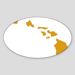 Hawaiian Islands Gold Sticker (Oval)