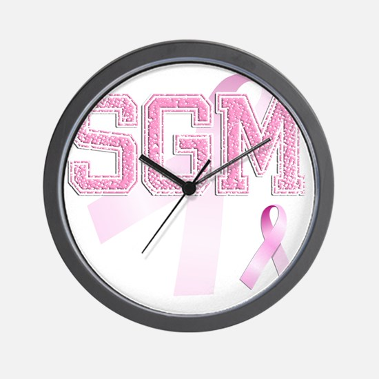 SGM initials, Pink Ribbon, Wall Clock