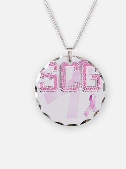 SCG initials, Pink Ribbon, Necklace