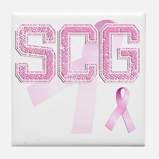 SCG initials, Pink Ribbon, Tile Coaster