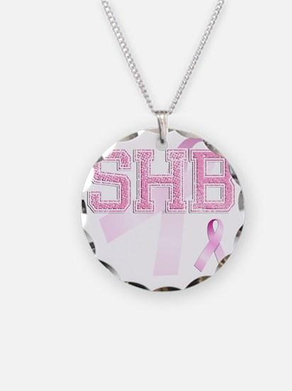 SHB initials, Pink Ribbon, Necklace Circle Charm