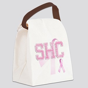 SHC initials, Pink Ribbon, Canvas Lunch Bag