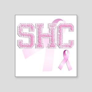 "SHC initials, Pink Ribbon, Square Sticker 3"" x 3"""