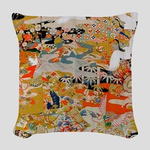 LUXURIOUS ANTIQUE JAPANESE KIM Woven Throw Pillow