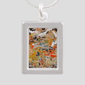 LUXURIOUS ANTIQUE JAPANE Silver Portrait Necklace