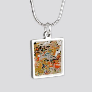LUXURIOUS ANTIQUE JAPANESE Silver Square Necklace