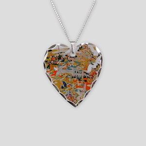 LUXURIOUS ANTIQUE JAPANESE KI Necklace Heart Charm