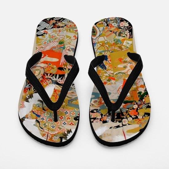 LUXURIOUS ANTIQUE JAPANESE KIMONO FOR F Flip Flops