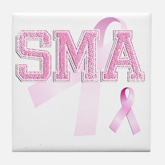 SMA initials, Pink Ribbon, Tile Coaster
