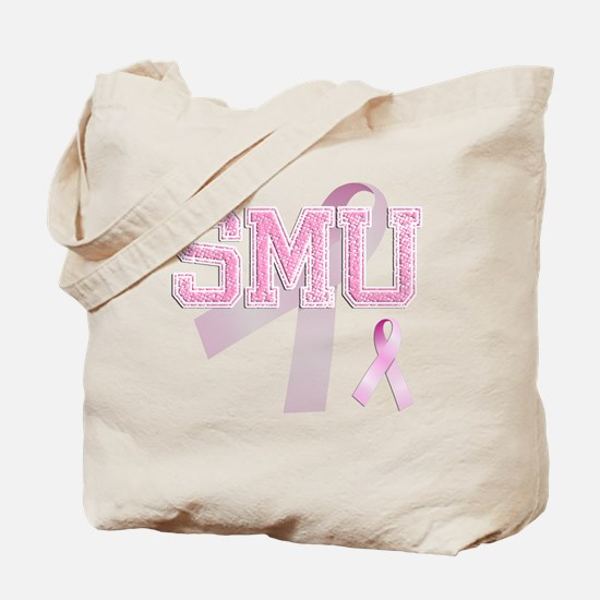 SMU initials, Pink Ribbon, Tote Bag