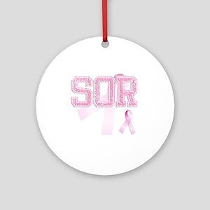 SOR initials, Pink Ribbon, Round Ornament