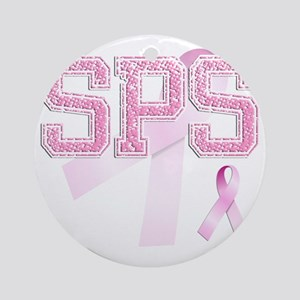 SPS initials, Pink Ribbon, Round Ornament