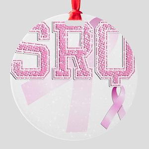 SRQ initials, Pink Ribbon, Round Ornament