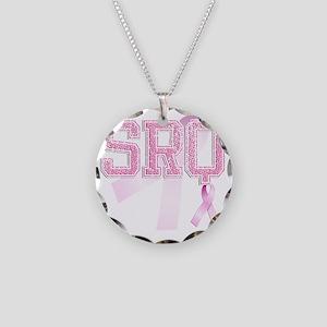SRQ initials, Pink Ribbon, Necklace Circle Charm