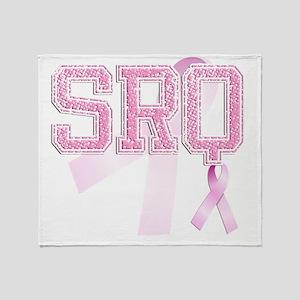 SRQ initials, Pink Ribbon, Throw Blanket