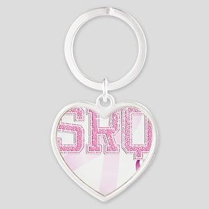 SRQ initials, Pink Ribbon, Heart Keychain