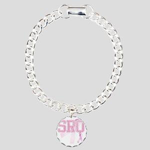SRQ initials, Pink Ribbo Charm Bracelet, One Charm