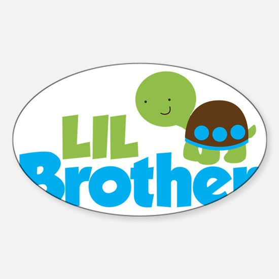 Boy Turtle Little Brother Sticker (Oval)