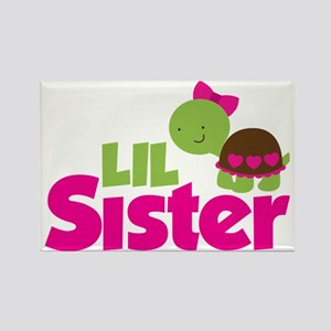 Girl Turtle Little Sister Rectangle Magnet