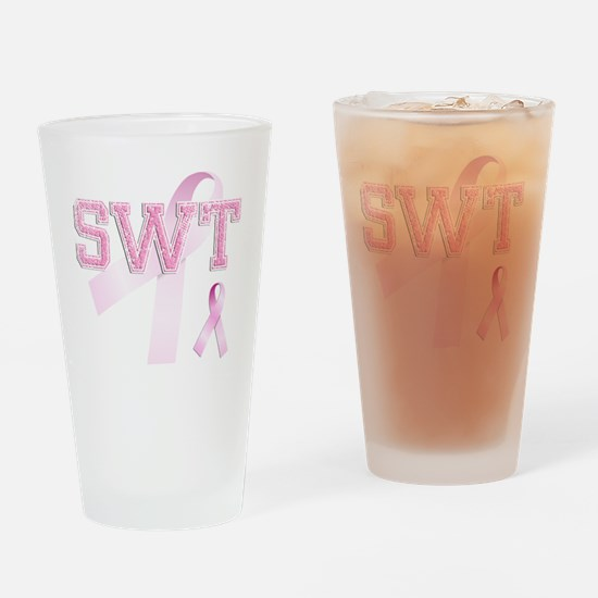 SWT initials, Pink Ribbon, Drinking Glass