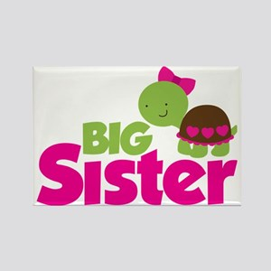 Girl Turtle Big Sister Rectangle Magnet