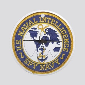 Spy Navy Patch Round Ornament