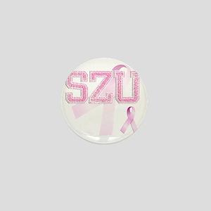 SZU initials, Pink Ribbon, Mini Button