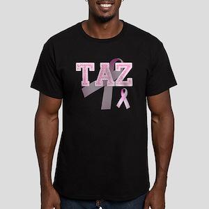 TAZ initials, Pink Rib Men's Fitted T-Shirt (dark)
