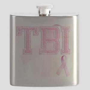 TBI initials, Pink Ribbon, Flask