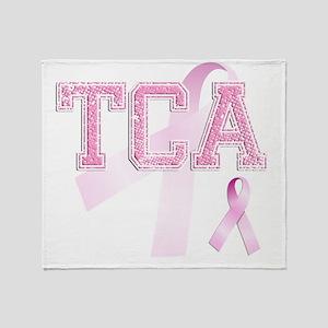 TCA initials, Pink Ribbon, Throw Blanket