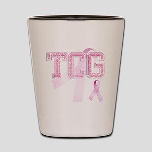 TCG initials, Pink Ribbon, Shot Glass