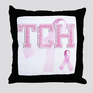 TCH initials, Pink Ribbon, Throw Pillow